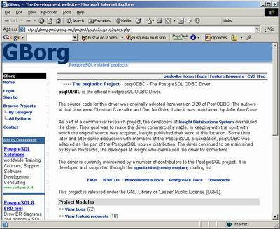 A screenshot of the former Gborg website